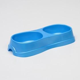 Миска двойная 2 х 0,3 л, 28 х 12,5 х 5 см, голубой перламутр