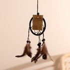 "Dreamcatcher ""Harmony"" black (brown feathers) 6х0,5 × 20 cm"
