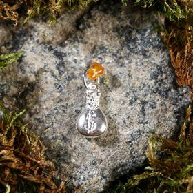 """Keychain mascot """"Money bag"""", natural amber, silver plated"""