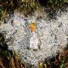 "Keychain mascot ""Buddha"", natural amber, silver plated"
