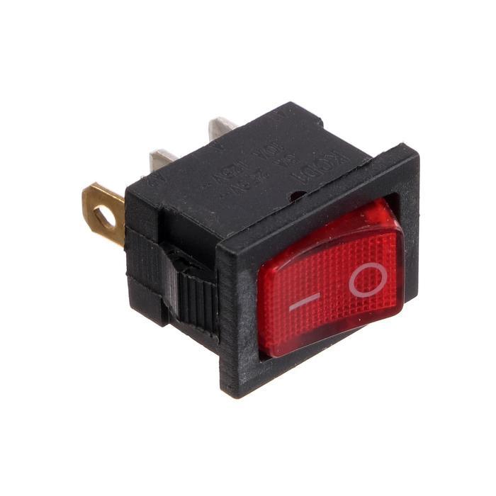 Клавишный выключатель, 250 В, 6 А, ON-OFF, 3с, красный, с подсветкой, розничная упаковка.
