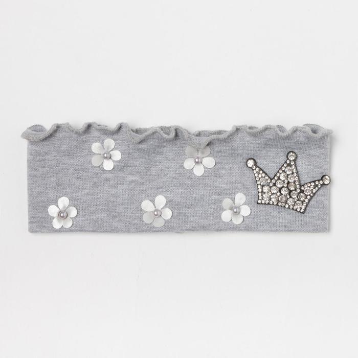 Повязка для девочки, цвет серый/корона, размер 50-53 (3-6 лет)