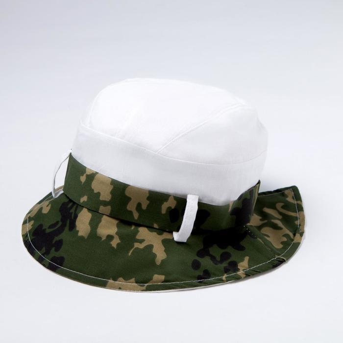 Панама для мальчика, цвет зелёный/белый, размер 52-55