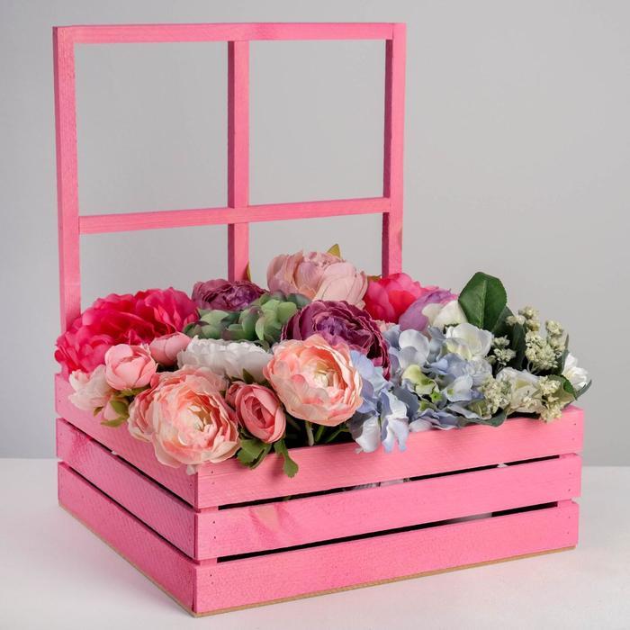 Кашпо флористическое с окном «Розовое счастье», 35 х 30 х 42(12) см - фото 843420