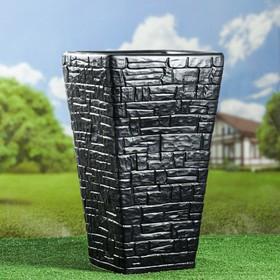 Вазон садовый, черный, матовый, 47 см