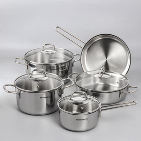 Набор посуды Perla, 5 предметов: кастрюля 2 л, 3,5 л, 5,5 л; жаровня, 3 л; сковорода 24×5 см