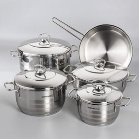 Набор посуды Astra, 5 предметов: кастрюля 2 л / 3,7 л / 6,3 л; жаровня 3,8 л; сковорода 24×6 см