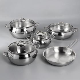 Набор посуды Tombik, 5 предметов: кастрюля 1,8 л / 3,5 л / 5,5 л; жаровня 3,6 л; сковорода 24×5 см