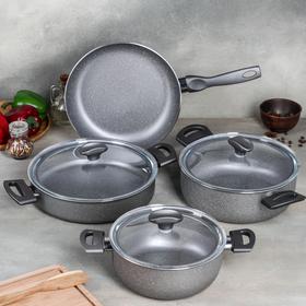 Набор посуды Optimum, 4 предмета: кастрюля 2,5 л (d=20 см), 3,9 л (d=24 см), 4,2 л (d=26 см), сковорода d=26 см