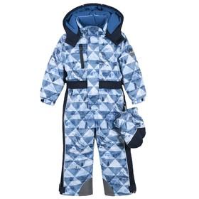 Комбинезон утеплённый для мальчиков, рост 116 см, цвет тёмно-синий, принт треугольники