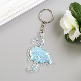 Keychain plastic Flamingo soft glitter within the MIX of 6x4,5 cm