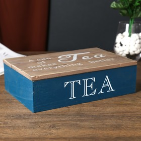 """Box tree with divisions """"Cup of tea and a better life"""" 7x16,5х24 cm"""