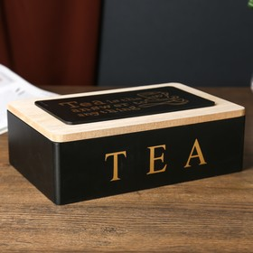 """The box is wood with marks """"Tea"""" is black with gold 7,5х15х23 cm"""