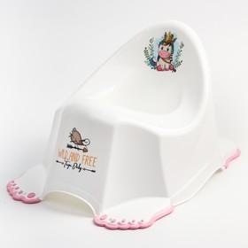 Горшок туалетный детский «ДИКИЙ ЗАПАД - ЕДИНОРОГ», нескользящий, цвет белый/розовый