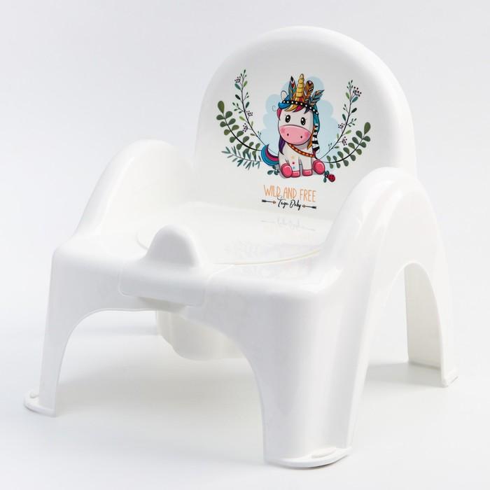"""Горшок-стульчик -""""ДИКИЙ ЗАПАД - ЕДИНОРОГ"""", цвет белый/розовый - фото 960252"""