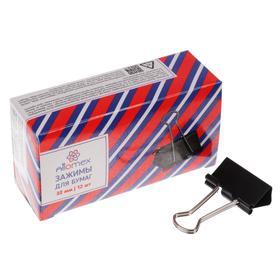 Зажимы для бумаг 32 мм, 12 штук, deVENTE, металлические, черный, картонная коробка