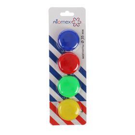 Магниты для досок 35 мм, 4 штуки, микс х 4 цвета, в картонном блистере, Attomex