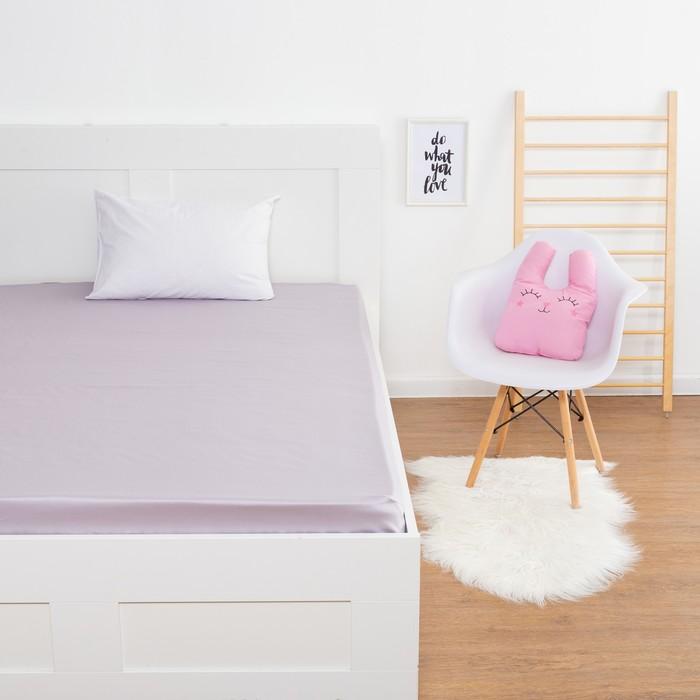 Простыня «Этель» цвет серый, 160х210 см, мако-сатин - фото 105556713