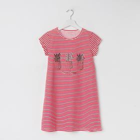 Сорочка ночная для девочки, цвет белый/красный, рост 128 см