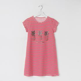 Сорочка ночная для девочки, цвет белый/красный, рост 140 см