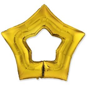 """Шар фольгированный 37"""" «Звезда», контур, цвет золотой"""