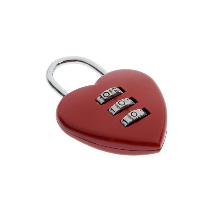 """УЦЕНКА Замок навесной кодовый TUNDRA """"Сердце"""", красный"""