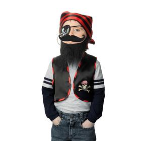Набор пирата «Чёрная борода», жилет, бандана, борода, усы, наглазник, клипса, рост 98-110 см
