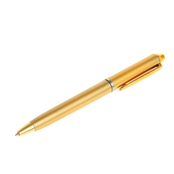 Ручка шариковая автоматическая Лого, корпус золотистый