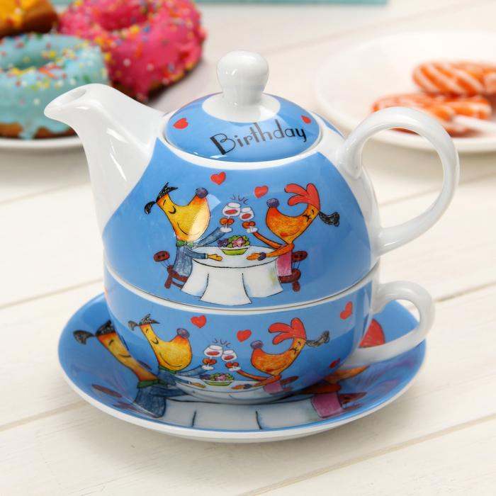 """Набор чайный """"Приятного чаепития"""", 3 предмета: чашка 290 мл, блюдце, чайник 420 мл"""