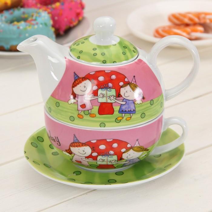 """Набор чайный """"Подружки"""", 3 предмета: чашка 290 мл, блюдце, чайник 420 мл"""