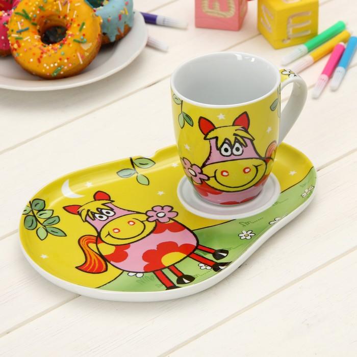 """Набор детской посуды """"Лошадка"""", 2 предмета: кружка 300 мл, блюдце"""