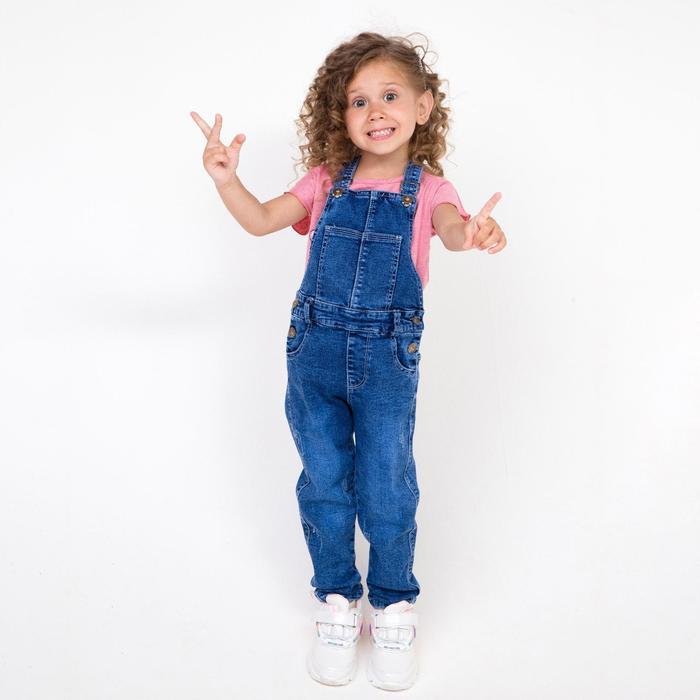 Полукомбинезон для девочек, цвет синий, рост 110 см - фото 105464497