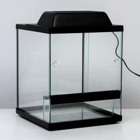 Террариум с раздвижными дверцами 30 л, черный 30х30х35 см