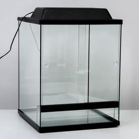Террариум с раздвижными дверцами 80 л, черный 40х40х50 см