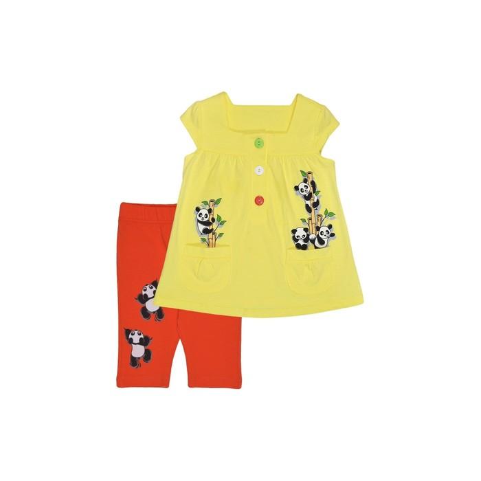 Комплект для девочки (туника и леггинсы), цвет бежевый/красный, рост 110 см (60)