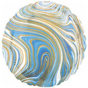 """Шар фольгированный 18"""" круг Мрамор, голубой  1204-1037"""