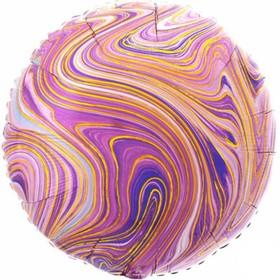"""Шар фольгированный 18"""" круг Мрамор, фиолетовый  1204-1038"""