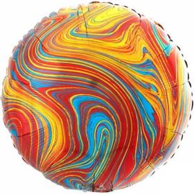 """Шар фольгированный 18"""" круг Мрамор, разноцветный   1204-1040"""