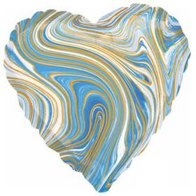 """Шар фольгированный 18"""" сердце Мрамор, голубой  1204-1042"""