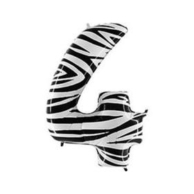 """Шар фольгированный 40"""" «Цифра 4», Zebra"""