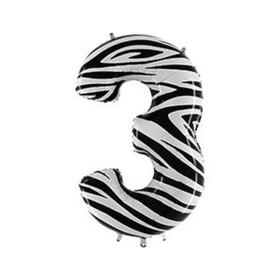 """Шар фольгированный 40"""" «Цифра 3», Zebra"""