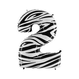 """Шар фольгированный 40"""" «Цифра 2», Zebra"""