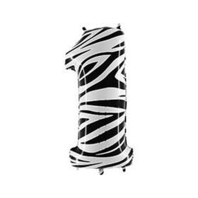 """Шар фольгированный 40"""" «Цифра 1», Zebra"""