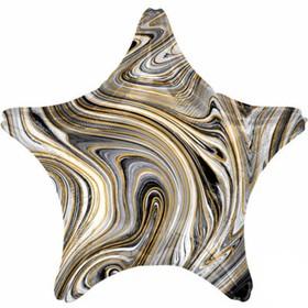 """Шар фольгированный 19"""" звезда Мрамор, черный  1204-1029"""