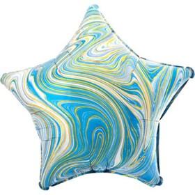 """Шар фольгированный 19"""" звезда Мрамор, бирюзовый  1204-1031"""