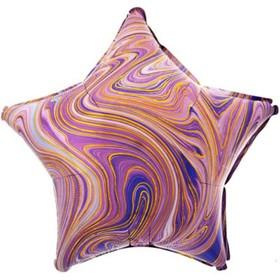 """Шар фольгированный 19"""" звезда Мрамор, фиолетовый  1204-1032"""