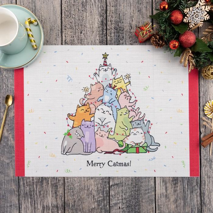 Новогодняя салфетка на стол Merry Catmas 40х29 см