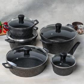 Набор посуды литой, 5 предметов: кастрюли 2,3 л, d=20 см, 4 л, d=24 см, 6 л, d=28 см, сотейник 4,5 л, 29×8 см, ковш 1,2 л d=16 см, индукция