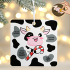 """Pendant with a scratch-off layer """"Cow with candy"""", 13 x 13 cm"""