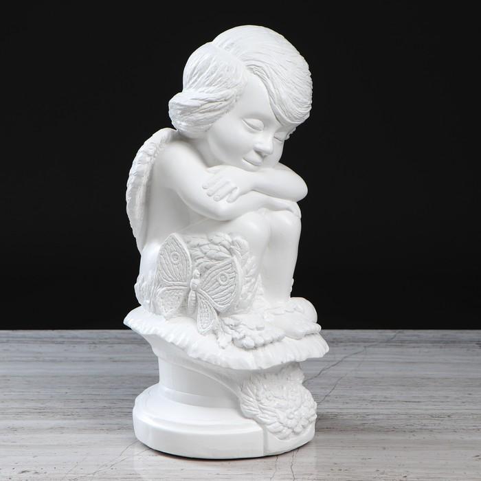 """Статуэтка """"Ангел с бабочкой"""" белый, 34 см - фото 491939"""